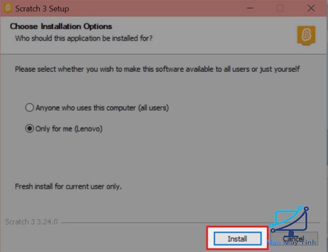 cài đặt phần mềm Scratch 3.0 bước 4-2