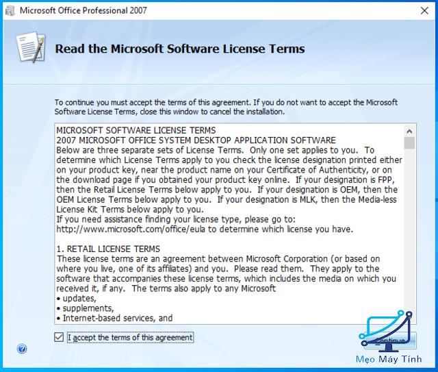 cài đặt Microsoft Office 2007 bước 4