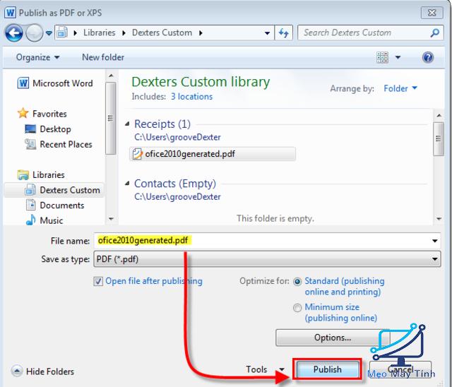 Lưu các định dạng PDF, XPS