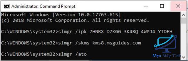 Active Win 10 CMD bằng KEY -8