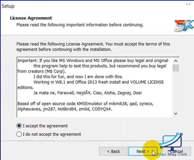 Kích hoạt phần mềm bước 2